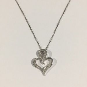 Jewelry - 14k White Gold Diamond 💎 Heart ❤️ Pendant W/Chain